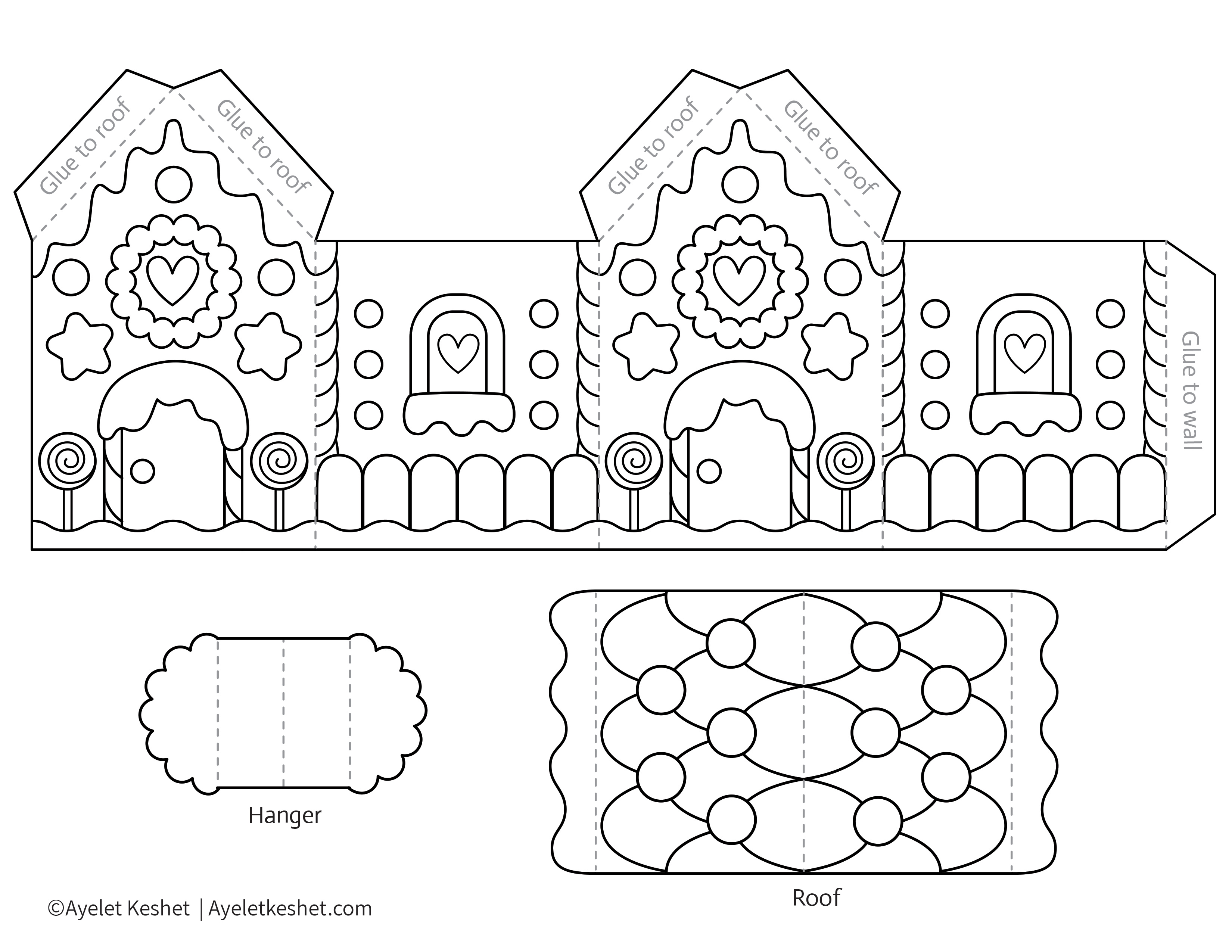 This is an image of Gingerbread House Printable within blueprint